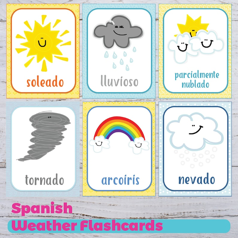picture relating to Spanish to English Flashcards With Pictures Printable titled Temperature Flashcards - Spanish Temperature Flashcards - Printable Weather conditions Flashcards - Spanish Homeschooling - Preschool Flashcards - Coaching