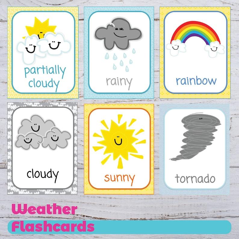 Printable Weather Flashcards Educational Flashcards | Etsy
