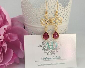 Hot Pink Dangle Earrings Matte Gold Textured Swirly Filigree Teardrop Glass Earrings Wedding Jewelry Bridesmaid Gift