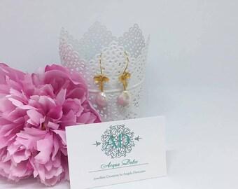 Fresh water pearls delicate pendant earrings, Bridesmaids Jewelry, Bridal Jewelry, Wedding Jewelry