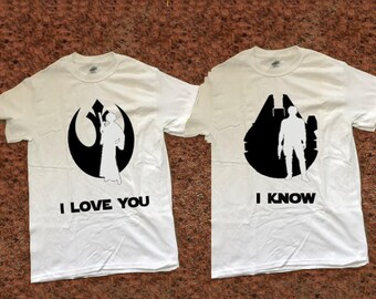 I Love You I Know T Shirt Star Wars Inspired Han and Leia | Etsy