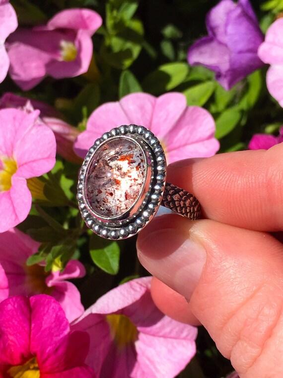 Hematite Quartz Sterling Silver Ring; Genuine Untreated Quartz