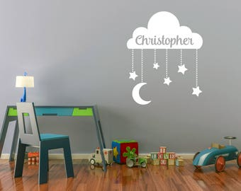 Custom Removable Cloud and Stars Wall Decal With Name **Free Domestic Shipping**