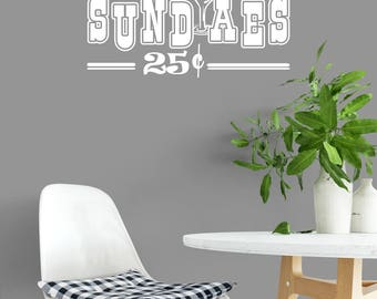 Custom Removable Sundaes 25 Cents Wall Decal **Free Domestic Shipping**