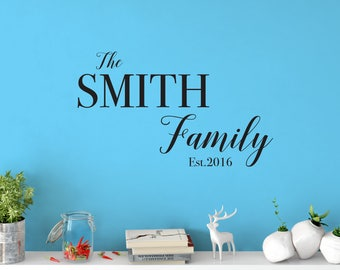 Custom Removable Family Name Wall Decal **Free Domestic Shipping**