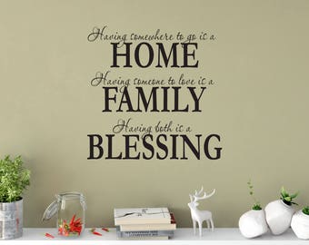 Custom Removable Home,Family and Blessing Wall Decal **Free Domestic Shipping**