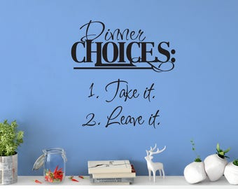 Custom Removable Dinner Choices Wall Decal **Free Domestic Shipping**