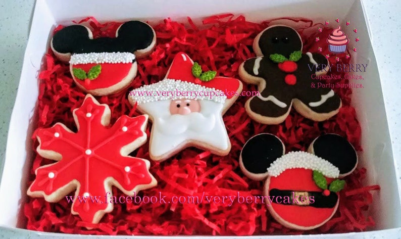 Mickey Mouse Gift Box Of Christmas Cookies Mickey Mouse Christmas Cookies Santa S Cookies Mickey Mouse Gifts For Christmas Mickey Cookies
