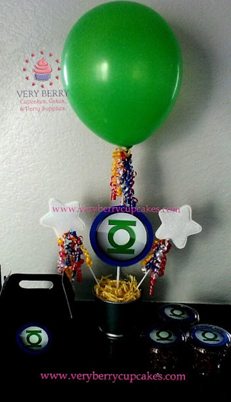 3 Green Lantern Centerpieces/Green Lantern party/super heroes image 0