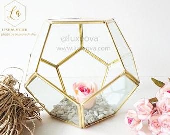 Glass Terrarium Dodecahedron, Geometric Glass Planter, Succulent Centerpiece,Wedding Decor, Terrarium Gift, Indoor Plants,Succulent Box Gift