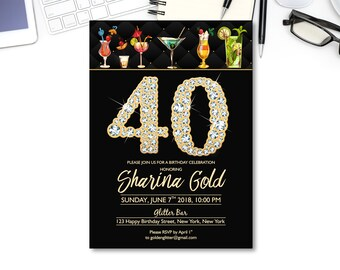 40th Birthday INVITATIONS PARTY CITY Aged To Perfection Cocktail Party Disco Invitations Naughty 40 Black And Gold Digital