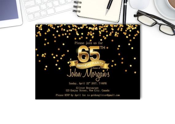 Gold Confetti 65th BIRTHDAY INVITATION Glitter Golden Birthday Black And Chalkboard 65 Surprise Party Any Age Digital