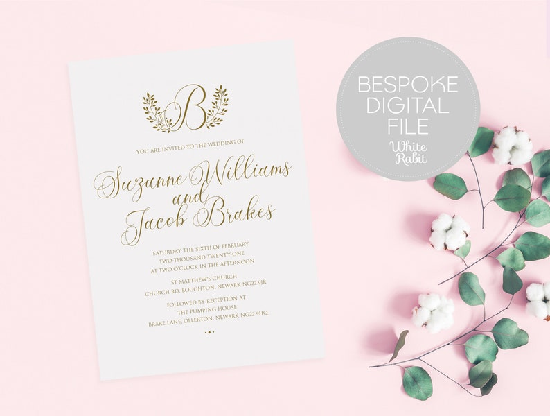 DIGITAL \u2022 Elegant Wedding Invitation with Surname Monogram \u2022 Colour Variants