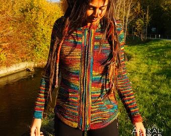 Rasta Alpaca Wool Jumper with Pixie Hood