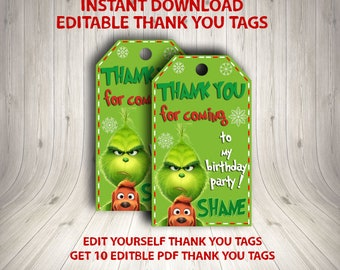 INSTANT DOWNLOAD EDITABLE - Grinch Instant Download, The Grinch Thank You Tags, Grinchmas Thank You, Grinch Birthday, Grinchmas Party Theme