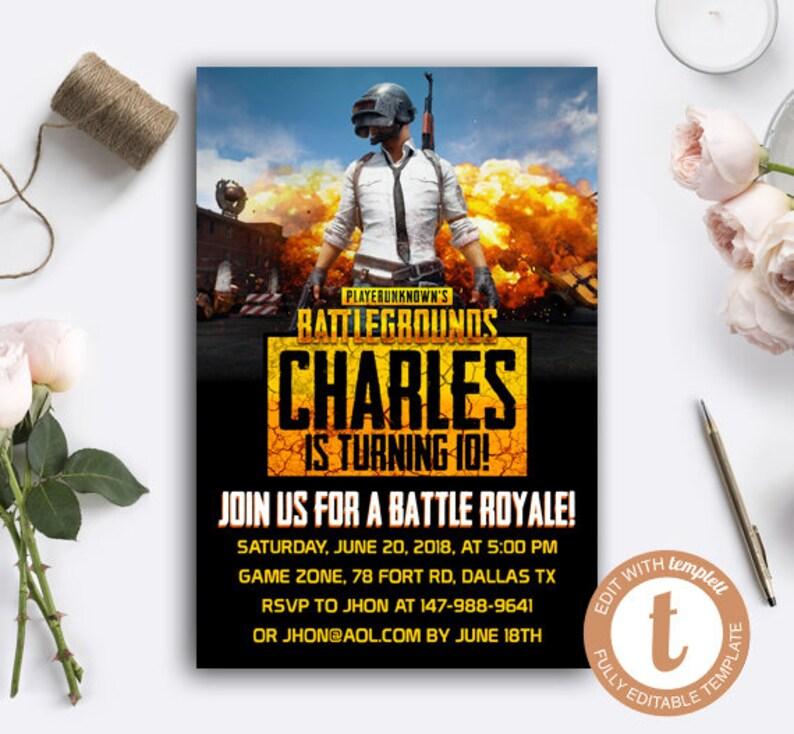 INSTANT DOWNLOAD EDITABLE - Battlegrounds Editable Instant Download  Invitation, Pubg Invitation, Pubg Theme Party, Battle Gamer Invitation