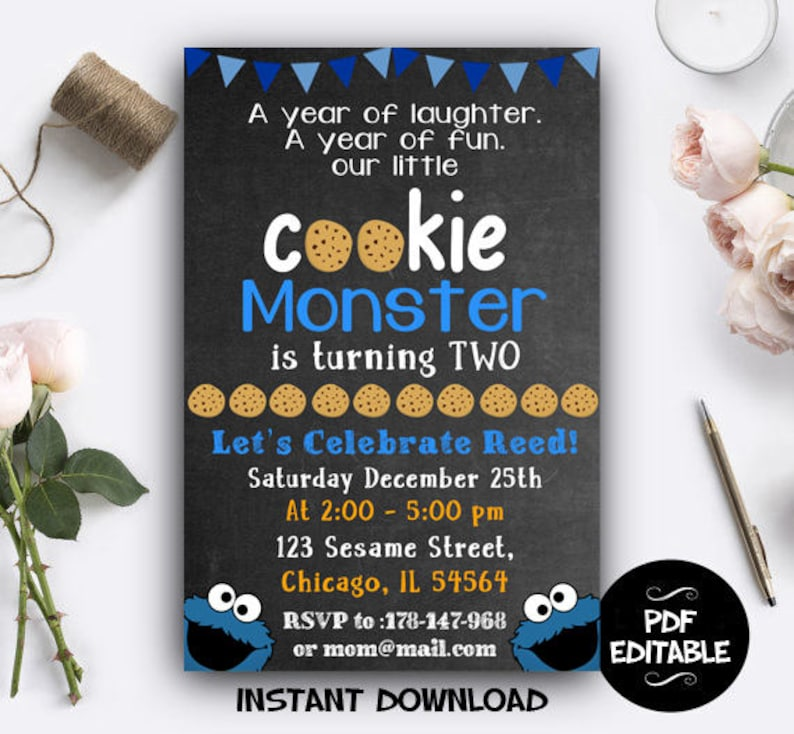 Cookie Monster Invite Digital, Cookie Monster Sesame Street Instant  Download, Cookie Monster PDF Editable, Cookie Monster Editable Invite