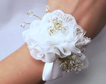Lace and organza bridesmaid/bridal bracelet, floral lace corsage jewel perfect for wedding