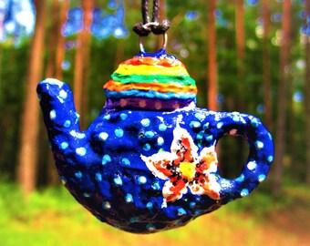 Pendants teapot Handpainted pendant Blue pendant Exclusive pendantPaper pendant Paper jewelry Papier mache pendant Paper mache figurine