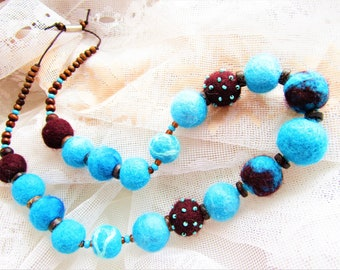 Bohemian turquoise brown necklace with felted balls - Romantic jewelry for wooman.