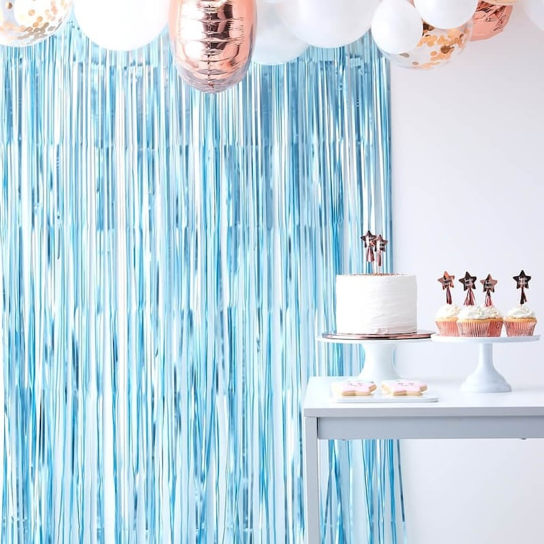 Party Decorations Tassel Curtains Baby Shower Matte Blue Curtain Backdrop