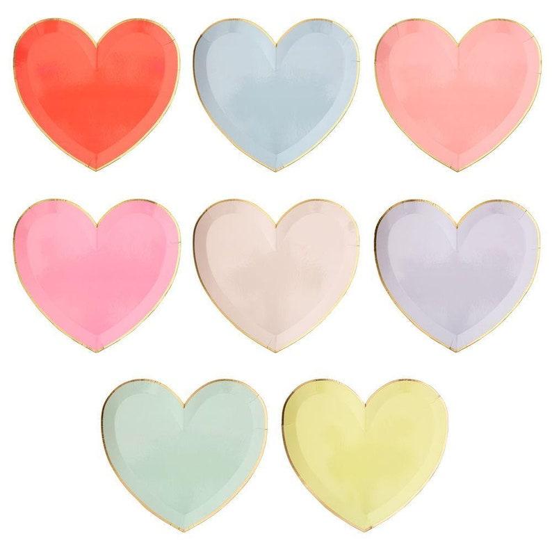 Meri Meri Sale  Rainbow Heart Plates Pk8 MERI MERI image 0