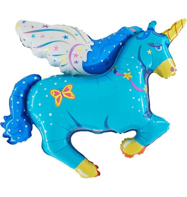 26 Blue Flying Unicorn Balloon