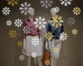 Large Snowflakes Set Shop Window Decal - Removable Retail Display Vinyl - Seasonal Window Decor - Christmas Season Snowflakes Window