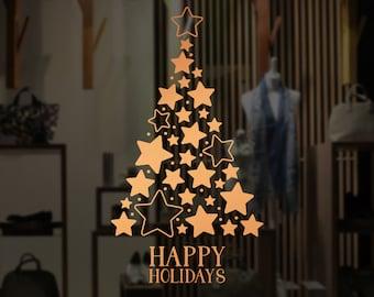 Stars Christmas Tree Window Decal, Wall Vinyl Sticker, Shop Sign, Window Display, Happy Holiday, Seasonal Window Decoration, Gold Stars