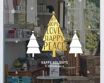 Christmas Tree Shop Window Sign - Removable Retail Display Vinyl - Seasonal Window Decor - Festive Season Sticker - Christmas Sticker