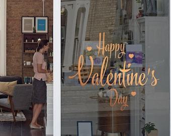 Happy Valentine's Day Window Decal - Removable Vinyl Sticker - Seasonal Shop Window Decoration - Valentine's Day Shop Window Sign
