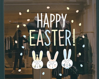 Easter Bunny Shop Window Decoration - Removable Retail Sign - Self Adhesive Removable Vinyl Sticker - Happy Easter Decoration - Window Decal