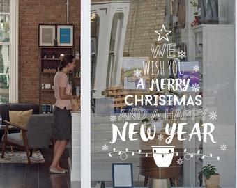 Christmas Tree Message Shop Window Decal, Christmas Window Vinyl Decal, Shop Retail Window Display, Seasonal Window Decoration