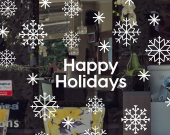 Happy Holidays Snowflakes Window Decal Set, Christmas Shop Sign, Happy New Year, Seasonal Retail Decoration, Removable Window Vinyl