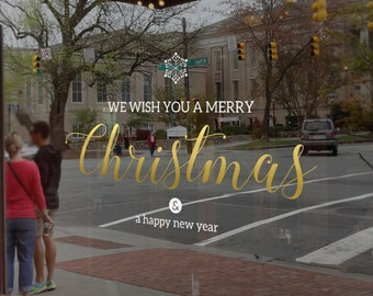 We Wish You A Merry Christmas Window Decal, Shop Retail Window Display, Happy New Year, Seasonal Window Decoration, Removable Window Vinyl