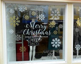 Merry Christmas Snowflakes Set Shop Window Decal, Shop Retail Window Display, Happy New Year, Seasonal Window Decoration, Removable Vinyl