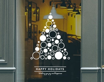 Christmas Tree Circles Shop Window Decal, Shop Window Sign, Happy Holidays, Happy New Year, Window Sticker, Window Sign