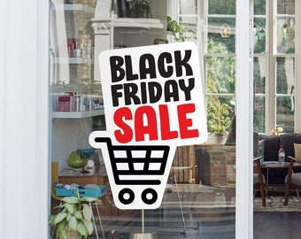 Black Friday Sale Sign - Removable and Reusable Window Sticker - Promotional Window Sign for Black Friday - Black Friday Shopping Cart