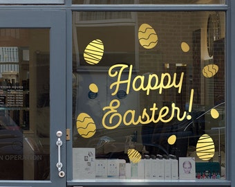 Happy Easter Day Window Decal - Removable Retail Display Vinyl - Easter Shop Window Decal - Retail Window Sign - Easter Eggs Sticker