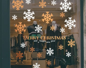 Merry Christmas Snowflakes Window Decal Set, Christmas Shop Sign, Happy New Year, Seasonal Retail Decoration, Removable Window Vinyl