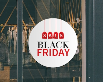 Black Friday Sale Window Sticker - Removable and Reusable Window Sticker - Promotional Window Sign for Black Friday - Black Friday Sale