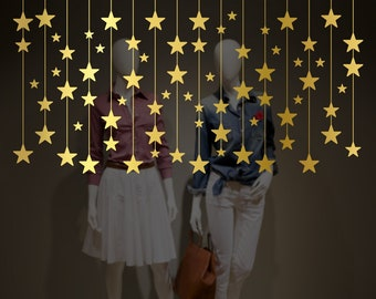 Hanging Stars Christmas Decorations Window Decal, Shop Retail Window Display, Gold Stars Stickers, Removable Window Vinyl, Happy Holiday