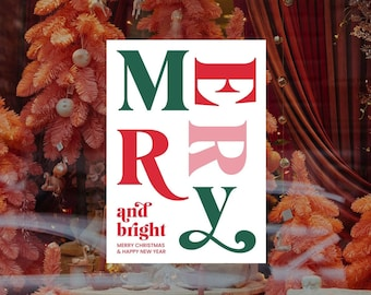 Merry And Bright Christmas Removable & Reusable Poster Sticker - Christmas Window Poster - Retail Window Poster - Peel and Stick