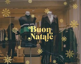 Multi Language Merry Christmas Snowflakes Set Shop Window Decal, Shop Retail Window Display, Seasonal Window Decoration, Removable Vinyl