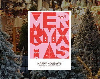 Happy Holidays Christmas Removable & Reusable Poster Sticker - Christmas Window Poster - Retail Window Poster - Peel and Stick