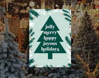 Joyous Holiday Christmas Tree Removable & Reusable Poster Sticker - Christmas Window Poster - Retail Window Poster - Peel and Stick