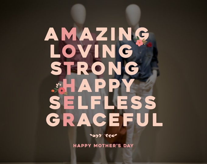 Featured listing image: Amazing Mother - Mother's Day Shop Window Decoration - Removable Retail Sign - Self Adhesive Removable Vinyl Sticker - Happy Mother's Day