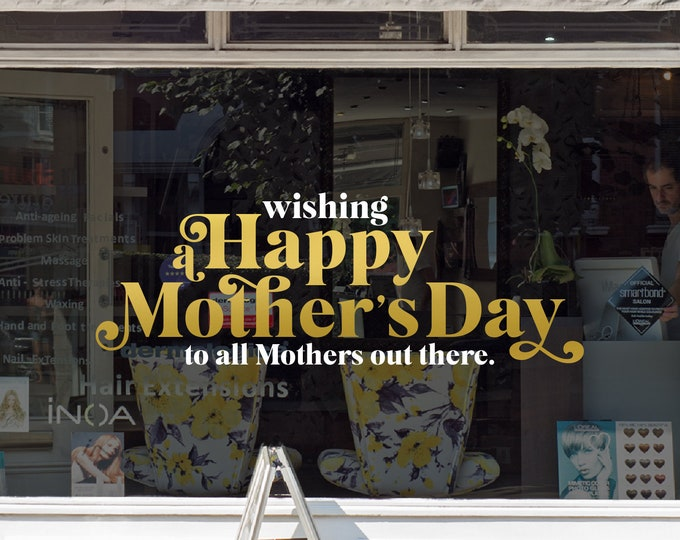 Featured listing image: Happy Mother's Day Window Decal - Removable Retail Display Vinyl - Mother's Day Window Sign - Shop Front Sticker - Mom's Day - Mum's Day