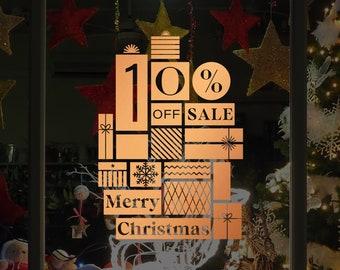 Christmas Sale Shop Window Decal, Shop Window Sale Sign, Clearance, Merry Christmas, Happy New Year, Window Sticker, Sale Sticker