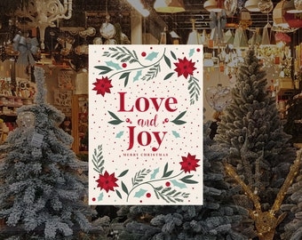 Love and Joy Christmas Removable & Reusable Poster Sticker - Christmas Window Poster - Retail Window Poster - Peel and Stick